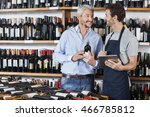salesman using digital tablet... | Shutterstock . vector #466785812