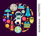 space colored composition with... | Shutterstock .eps vector #466795592