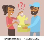 young woman received a parcel... | Shutterstock .eps vector #466810652