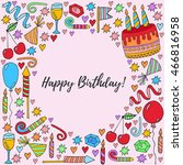 birthday card hand drawn... | Shutterstock .eps vector #466816958