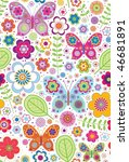Stock vector butterfly flower garden seamless pattern 46681891