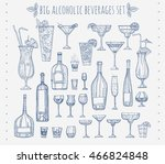 big alcoholic beverages set.... | Shutterstock .eps vector #466824848
