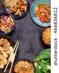 chinese food on black... | Shutterstock . vector #466836812