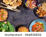 chinese food on black... | Shutterstock . vector #466836836
