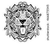 textured stylized jaguar. | Shutterstock .eps vector #466875545
