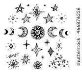 doodle planets and stars. | Shutterstock .eps vector #466876226