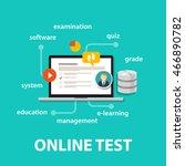 online test exams quiz with... | Shutterstock .eps vector #466890782