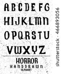 hand drawn alphabet font brush... | Shutterstock .eps vector #466893056