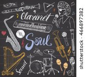 music instruments set. hand... | Shutterstock .eps vector #466897382