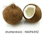Cut coconut - stock photo
