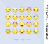 classic emoticons set with... | Shutterstock .eps vector #466966112