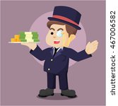 fat richman holding stack of... | Shutterstock .eps vector #467006582