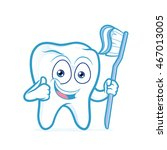 tooth holding toothbrush | Shutterstock .eps vector #467013005