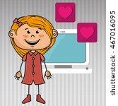 girl computer apps web vector... | Shutterstock .eps vector #467016095