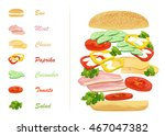 sandwich ingredients with text... | Shutterstock .eps vector #467047382