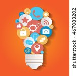 social media light bulb info... | Shutterstock .eps vector #467083202