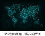 map illustration icon  cyan... | Shutterstock . vector #467083946