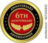 sixth anniversary gold medal | Shutterstock .eps vector #467102642