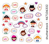 set of stickers with girls ... | Shutterstock .eps vector #467106332