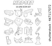 outline airport icons set....