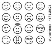 set of outline emoticons  emoji ... | Shutterstock . vector #467118626