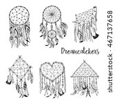 hand drawn with ink magical... | Shutterstock .eps vector #467137658