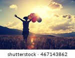 cheering young woman on... | Shutterstock . vector #467143862