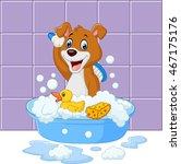 cute cartoon dog having bath | Shutterstock .eps vector #467175176