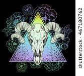 bull skull on triangle with... | Shutterstock .eps vector #467180762
