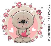 greeting card bear with heart... | Shutterstock . vector #467191472