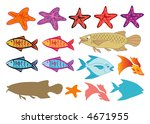fishes and starfish  raster   ... | Shutterstock . vector #4671955