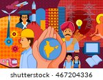 vector illustration of collage... | Shutterstock .eps vector #467204336