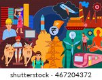 vector illustration of collage... | Shutterstock .eps vector #467204372