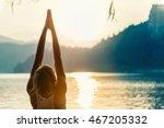 beautiful woman practicing yoga ...   Shutterstock . vector #467205332