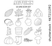 outline autumn icons set....