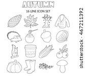 outline autumn icons set....