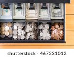 top down view on single cash... | Shutterstock . vector #467231012