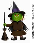 cute witch and a broomstick... | Shutterstock .eps vector #467276642