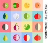 colorful flat fruits and... | Shutterstock .eps vector #467291552