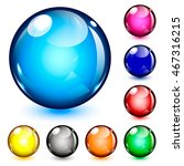 glossy colorful globe button... | Shutterstock .eps vector #467316215