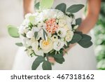bouquet of white roses... | Shutterstock . vector #467318162