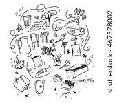 kitchen utensils doodles vector | Shutterstock .eps vector #467328002