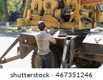 workers set foot hydraulic... | Shutterstock . vector #467351246