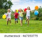 happy children running with...   Shutterstock . vector #467353775