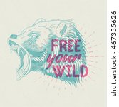 hand drawn vintage grizzly bear ... | Shutterstock .eps vector #467355626