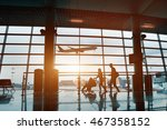 people in airport  silhouette... | Shutterstock . vector #467358152