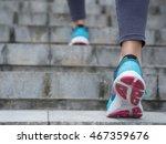 Sports Woman Legs Running Up O...