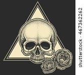 dotwork styled skull with...   Shutterstock .eps vector #467362262