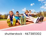 happy kids doing stretching... | Shutterstock . vector #467385302