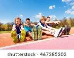 happy kids doing stretching... | Shutterstock . vector #467385302